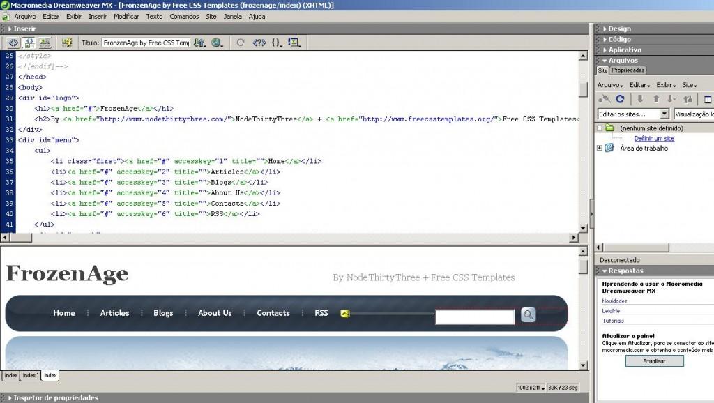 ferramentas do webmaster - dreamweaver
