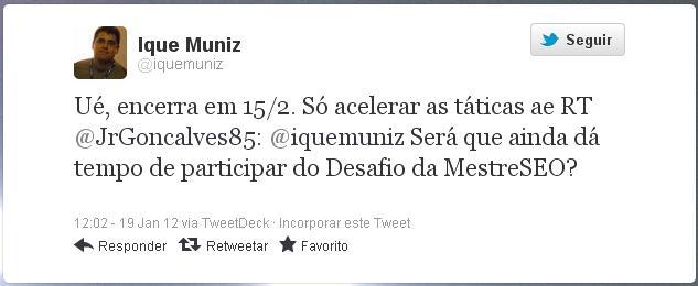 Tweet do Ique Muniz sobre o 4º Desafio da MestreSEO