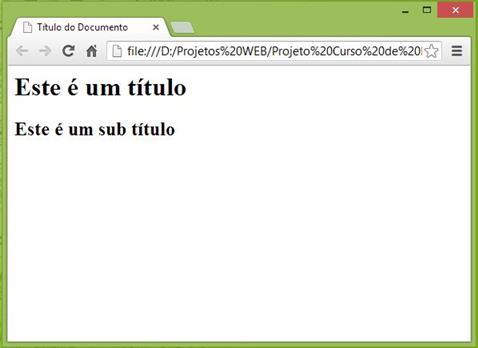 Curso de HTML - Exemplo de Título