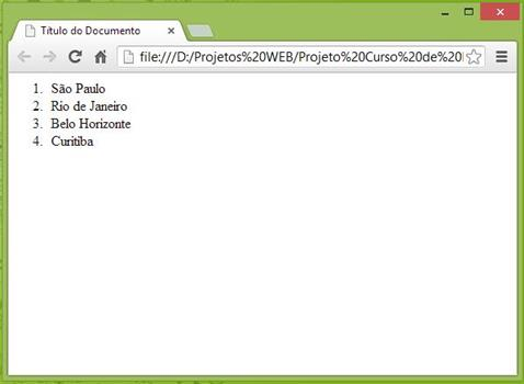 Curso de HTML - Exemplo de Listas