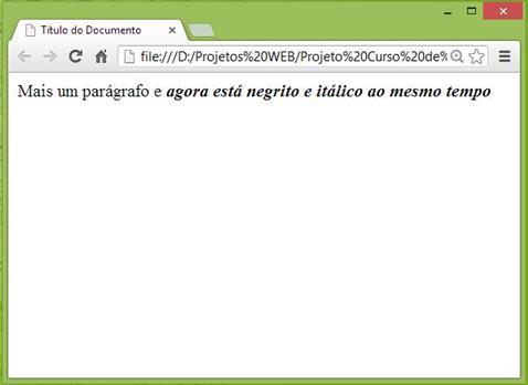 Curso de HTML - Exemplo de itálico e negrito