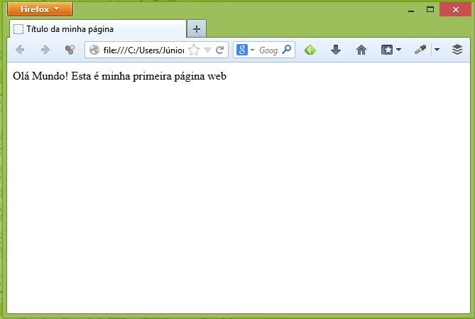 """Curso de HTML - Primeira página """"Olá Mundo"""""""