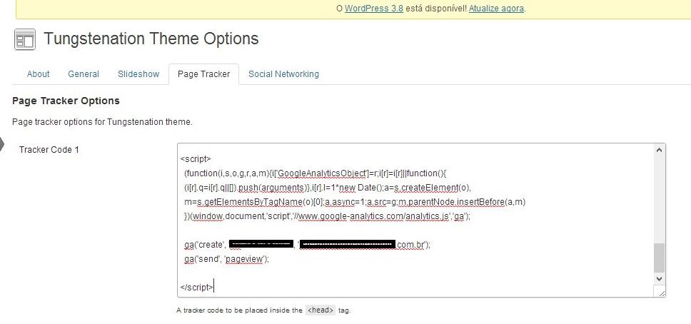 Configurando código de acompanhamento no WordPress