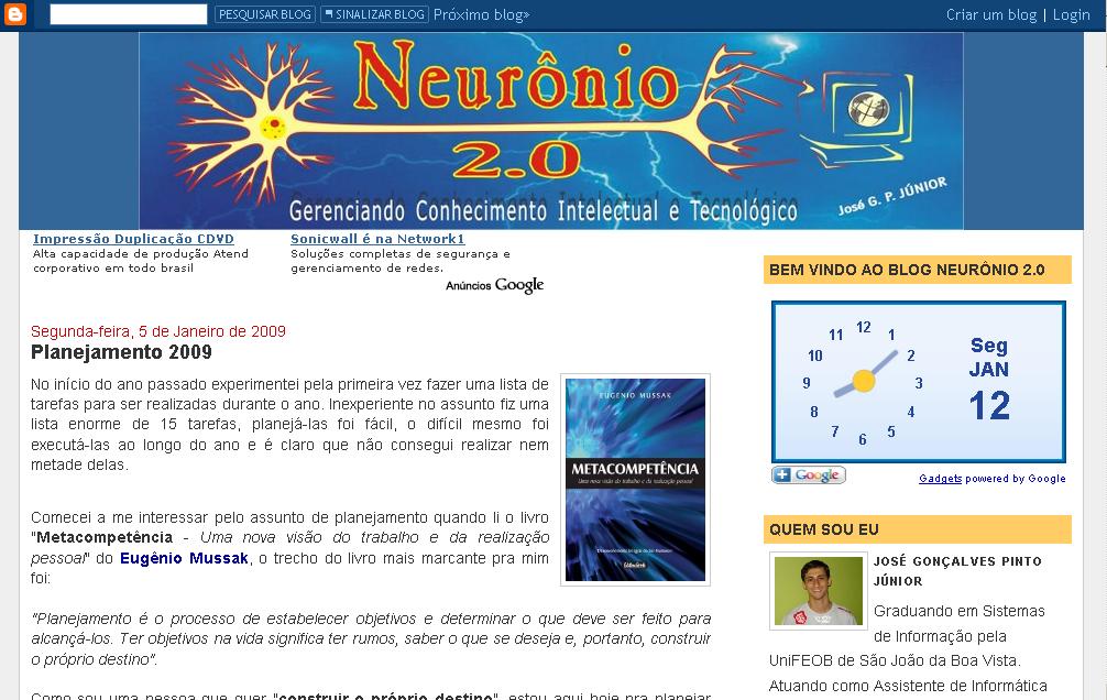 Blog Neurônio 2.0 - Segunda Versão